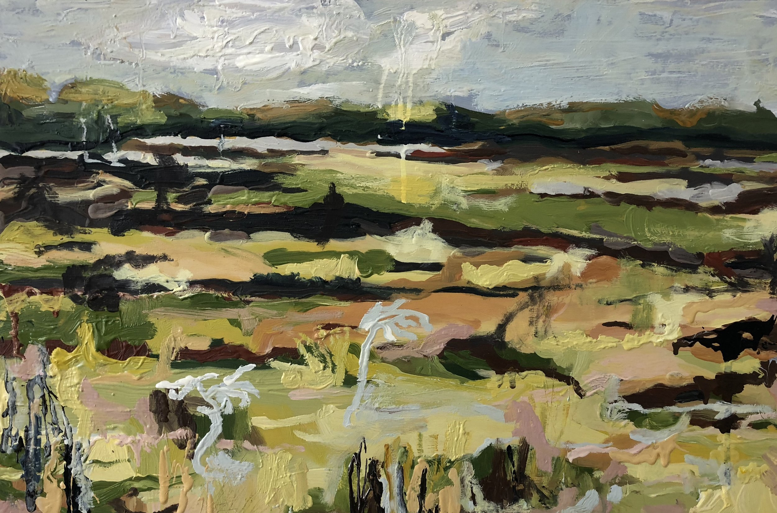 Michelle Teear  Poleblue Swamp  2018 oil paint on board, egg emulsion 40 x 60cm  $480.00