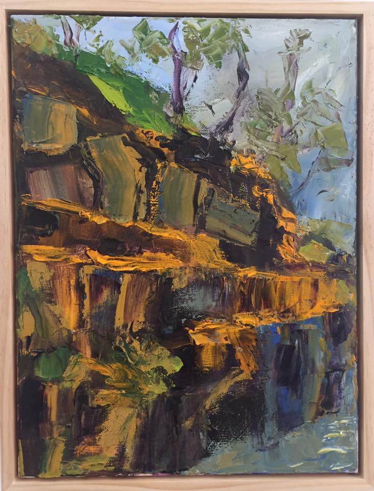 Sally Reynolds The Blue Pool - Angourie – Study 2017 oil on canvas  40x30cm inc frame  $550.00