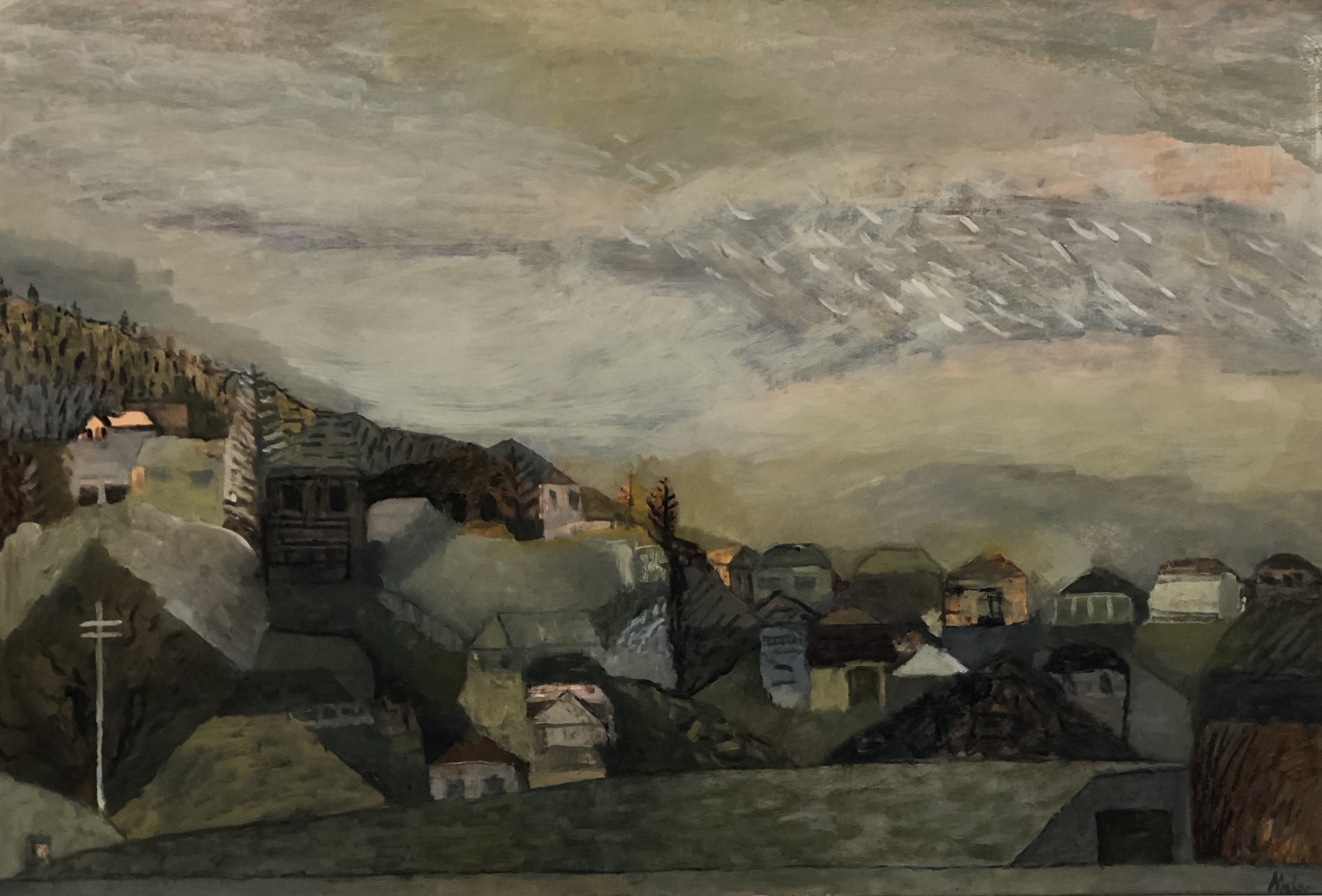 Paul Maher  Anzac Walk - downhill  2018 oil on canvas 85 x 125cm $1100.00