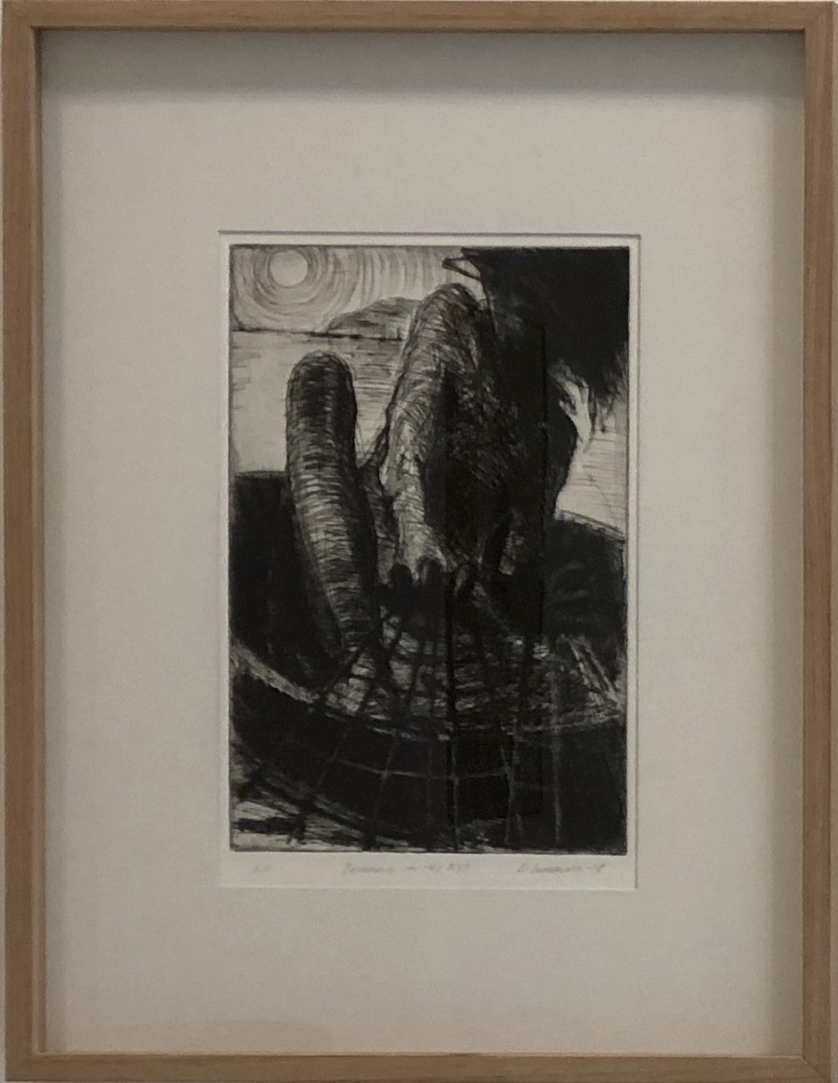 Bringing in the net  2018 drypoint etching artist proof 52.5 x 40cm framed PRIVATE COLLECTION