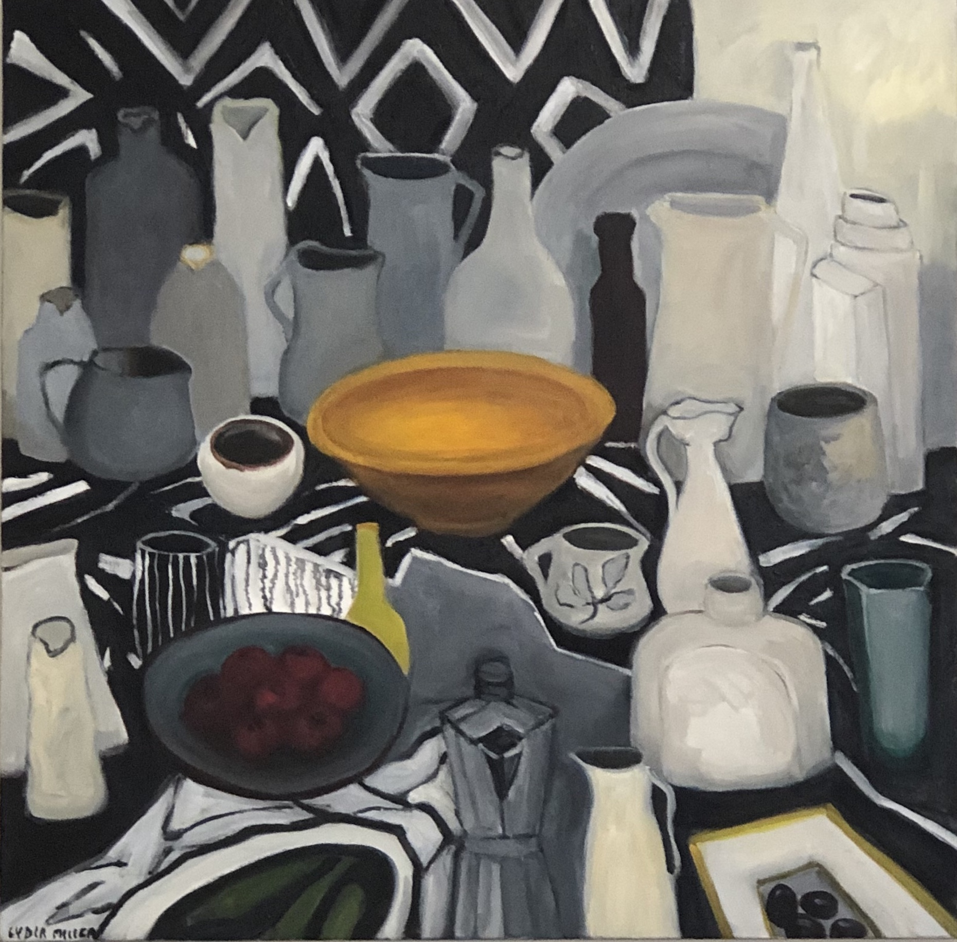 Lydia Miller, Still-Life with coffeepot, 2019, oil on canvas, 76 x76cm  artist collection
