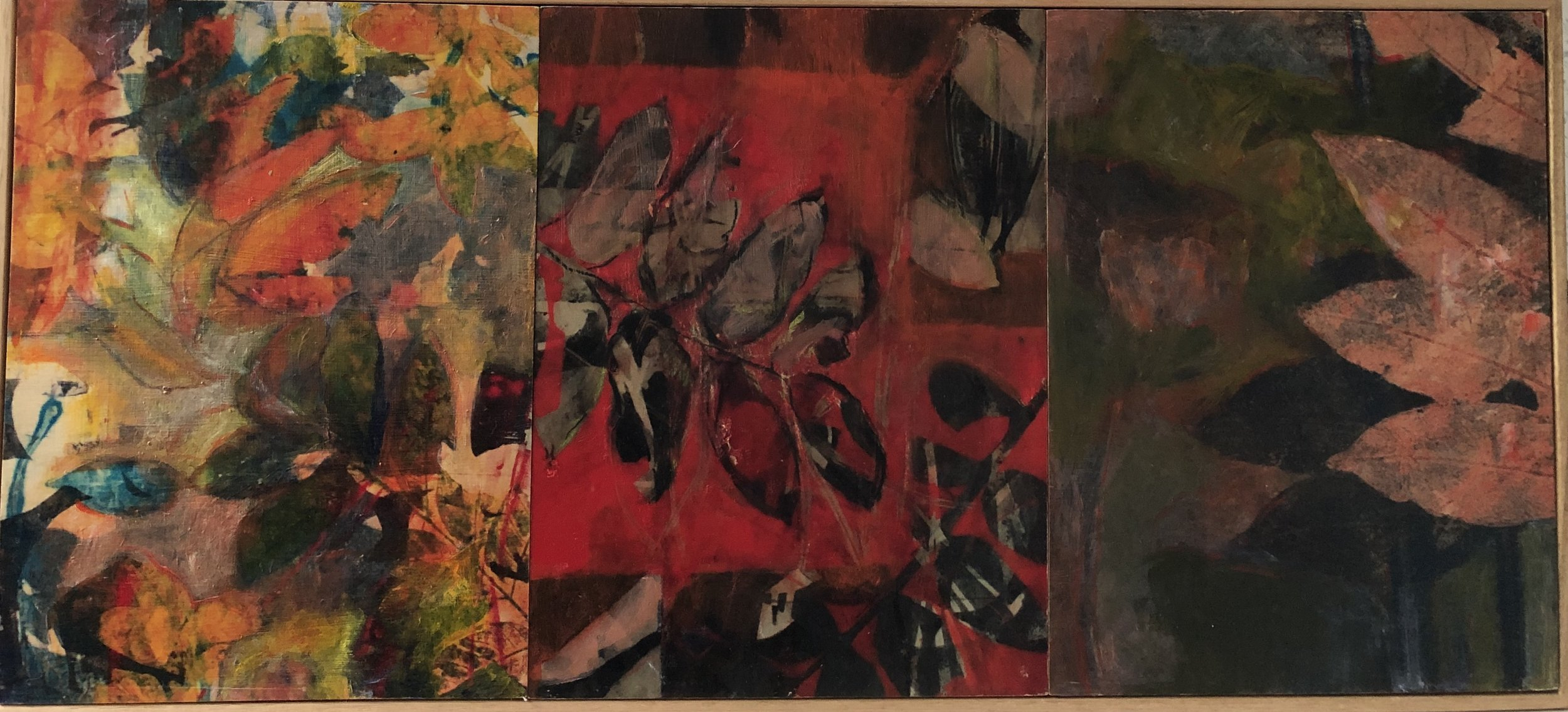 Helene Leane  Autumn (leaves)  2019 mixed media on board 32 x 70cm frame $550.00