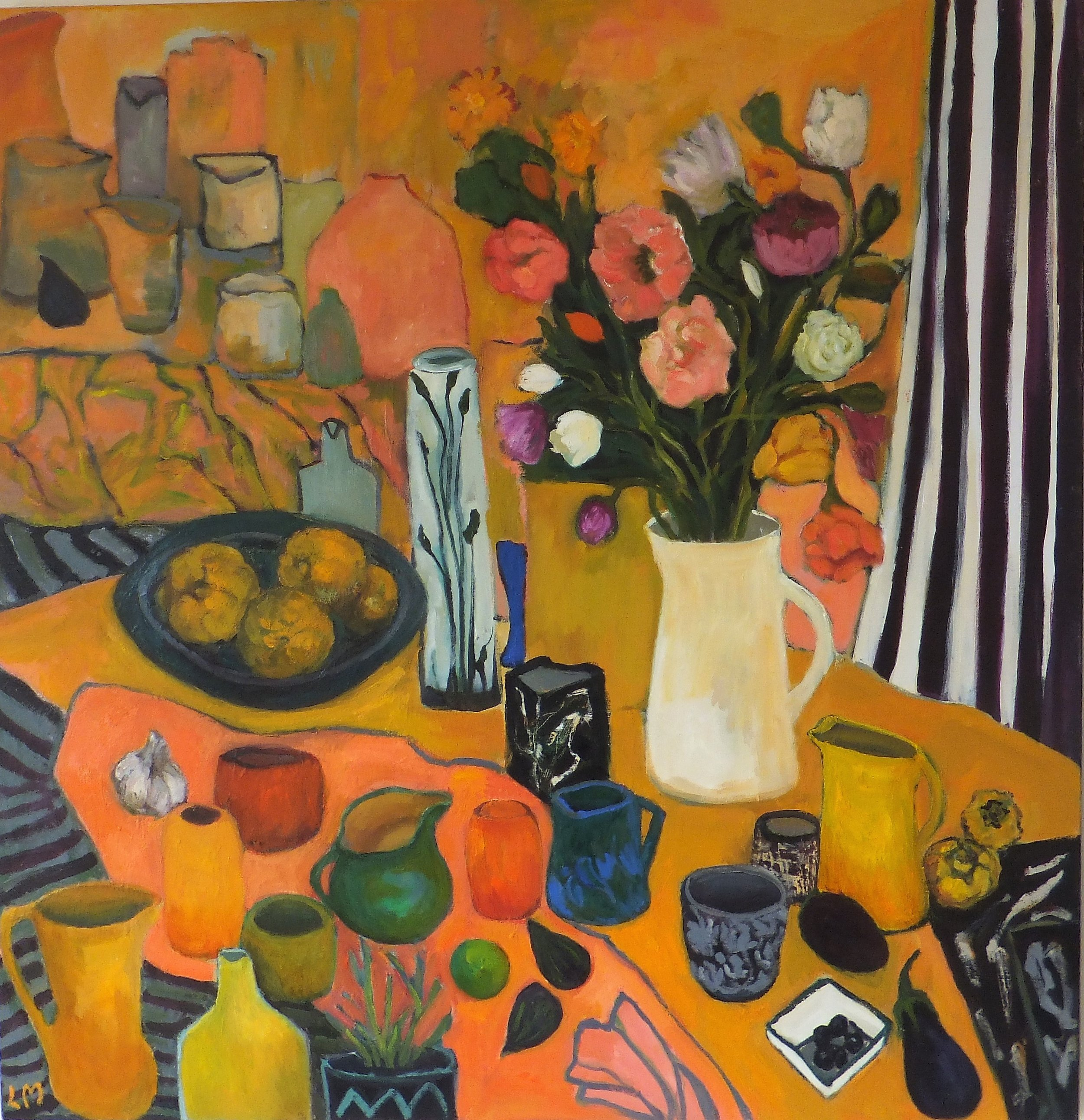 Lydia Miller, Still-Life with figs, 2019, oil on canvas, 91 x 91cm  SOLD through A.K Bellinger Gallery