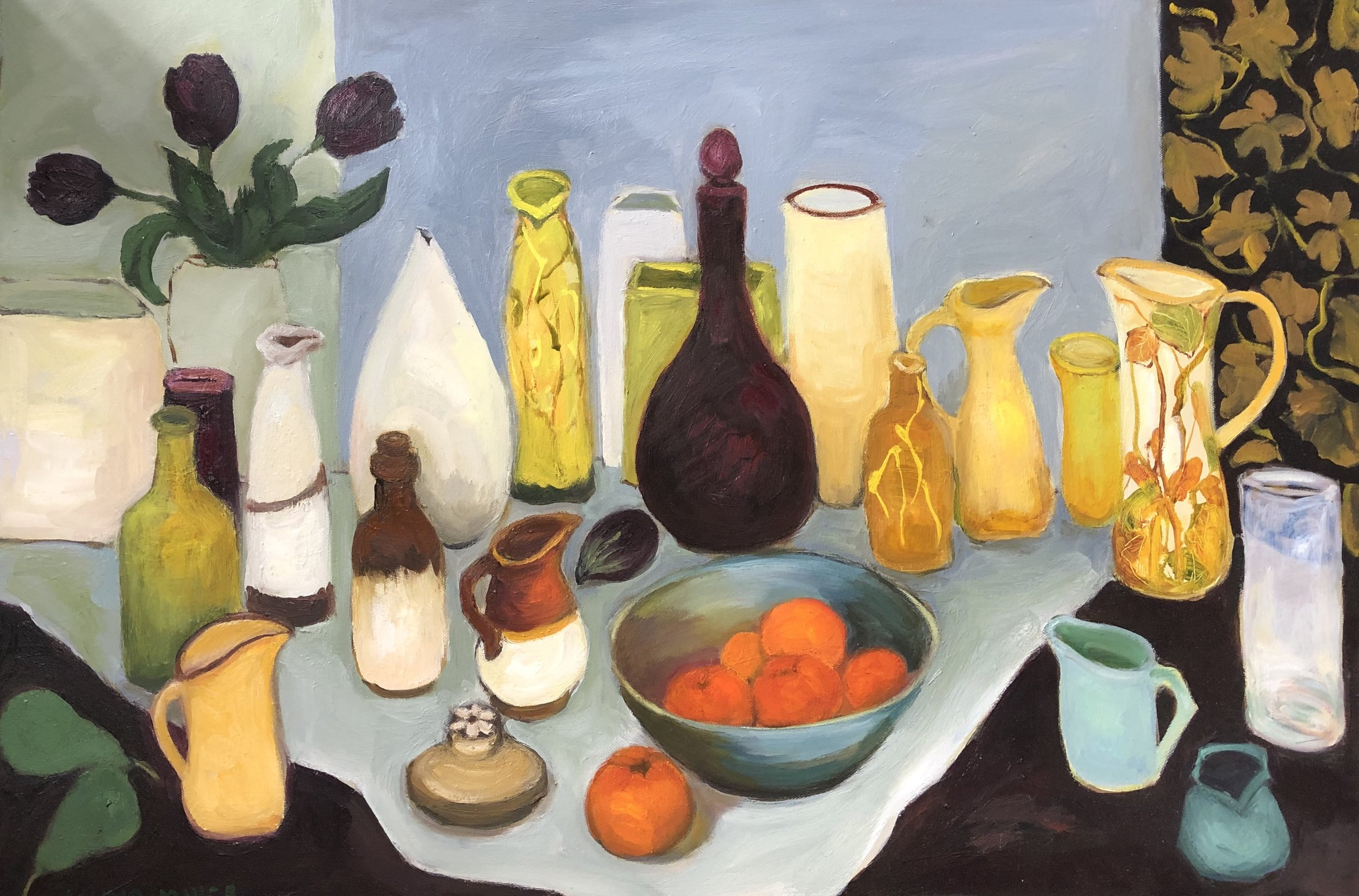Lydia Miller, Still-Life with mandarins, 2018 oil on canvas, 60 x 91cm $920.00 AVAILABLE contact info@gallery139.com.au