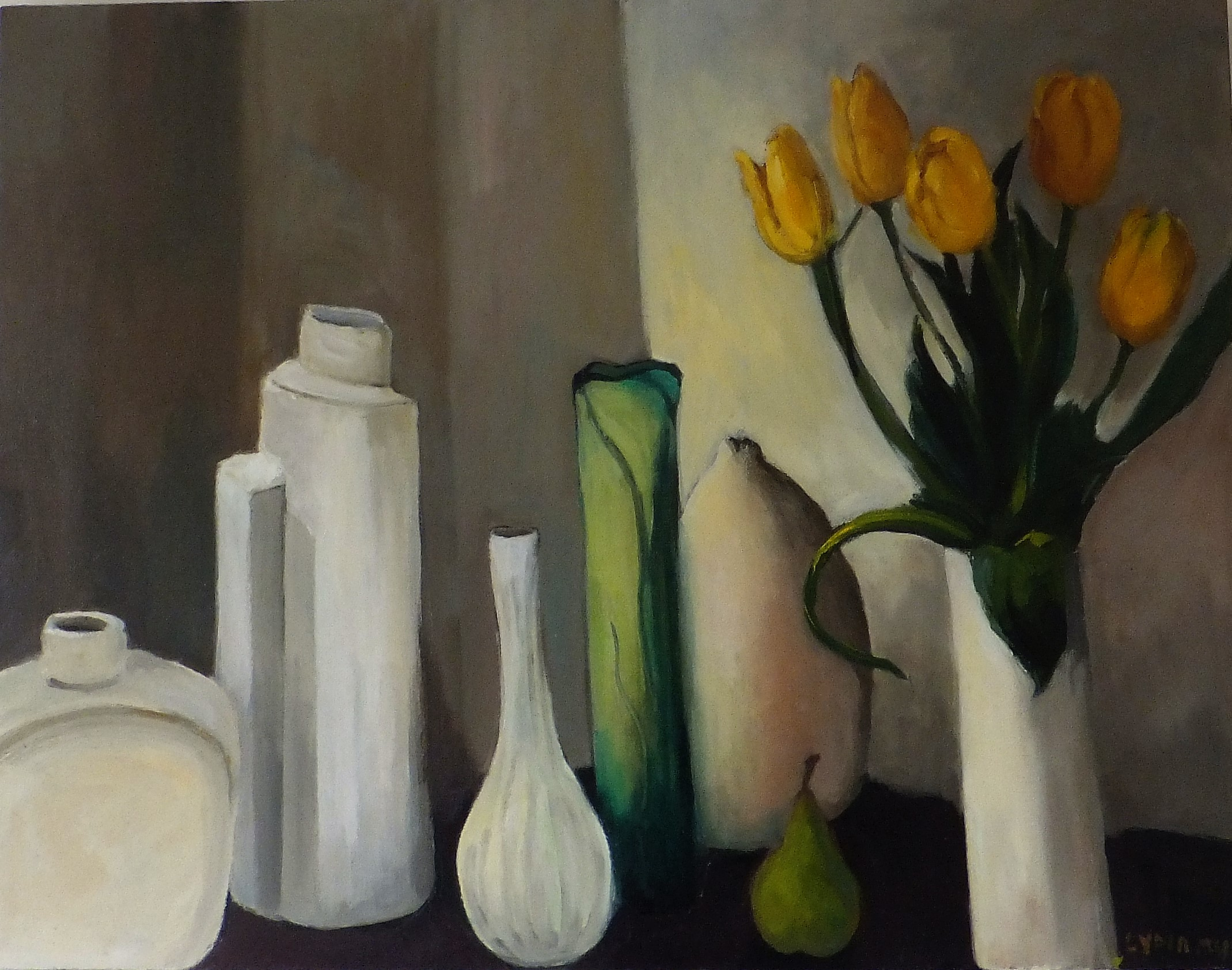Lydia Miller, Still-Life with yellow tulips, 2018 oil on canvas, 47 x 61cm $550.00 SOLD