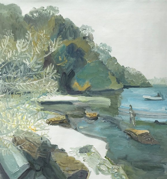 Paul Maher  Sirius Cove - cooee Curlew Camp  2019 oil on canvas 67 x 61cm $750.00