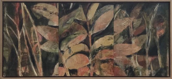 Helene Leane  Red Forest (cedar)  2019 mixed media 33 x 71cm frame $550.00