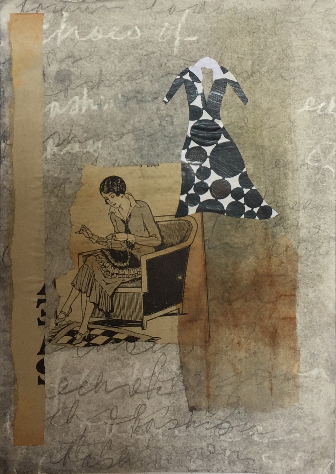 Varelle Hardy The seamstress at work 2018 collage on paper 28 x 35cm frame
