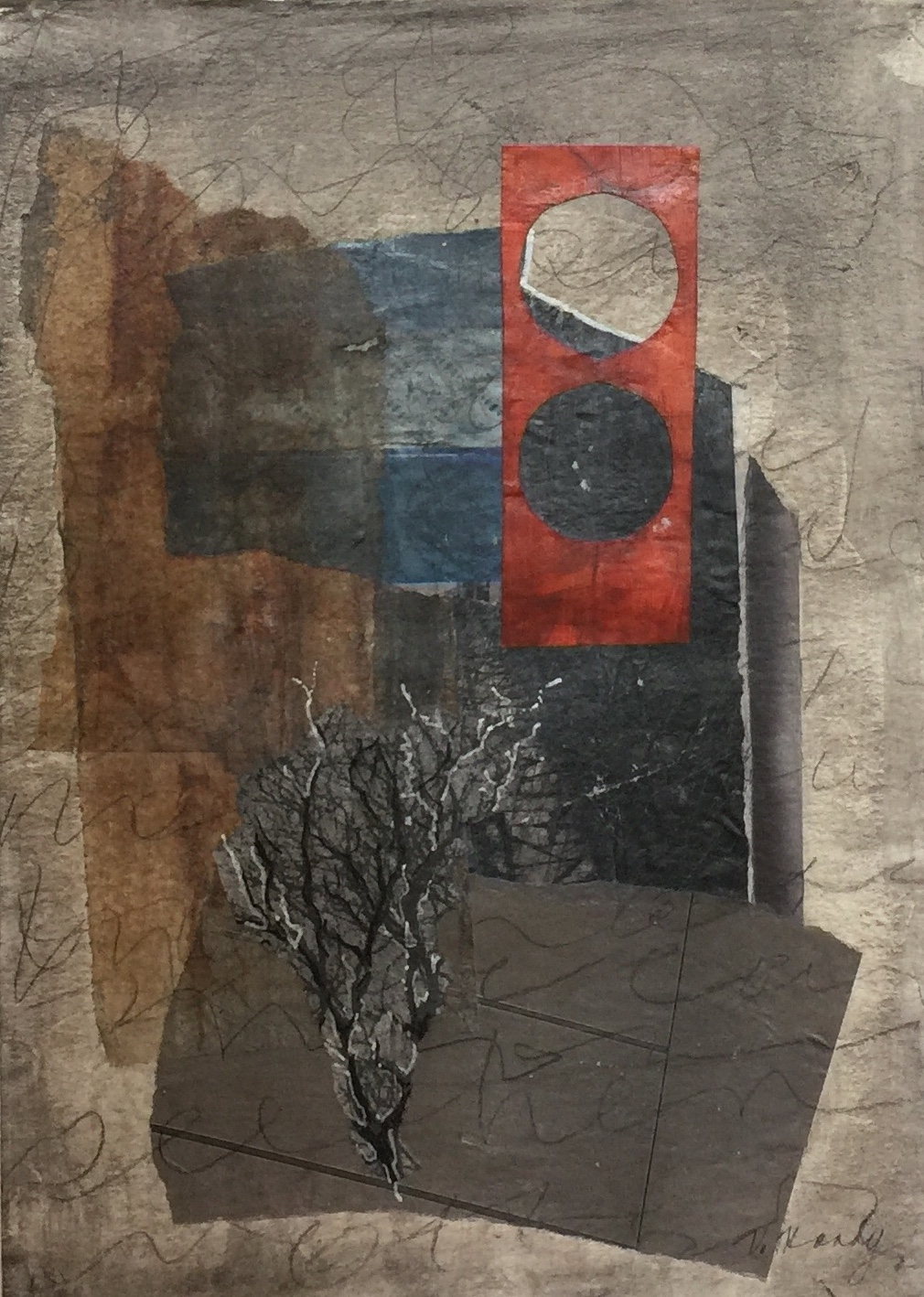 Varelle Hardy  A tree in the church  2018 collage on paper 28 x 35cm frame