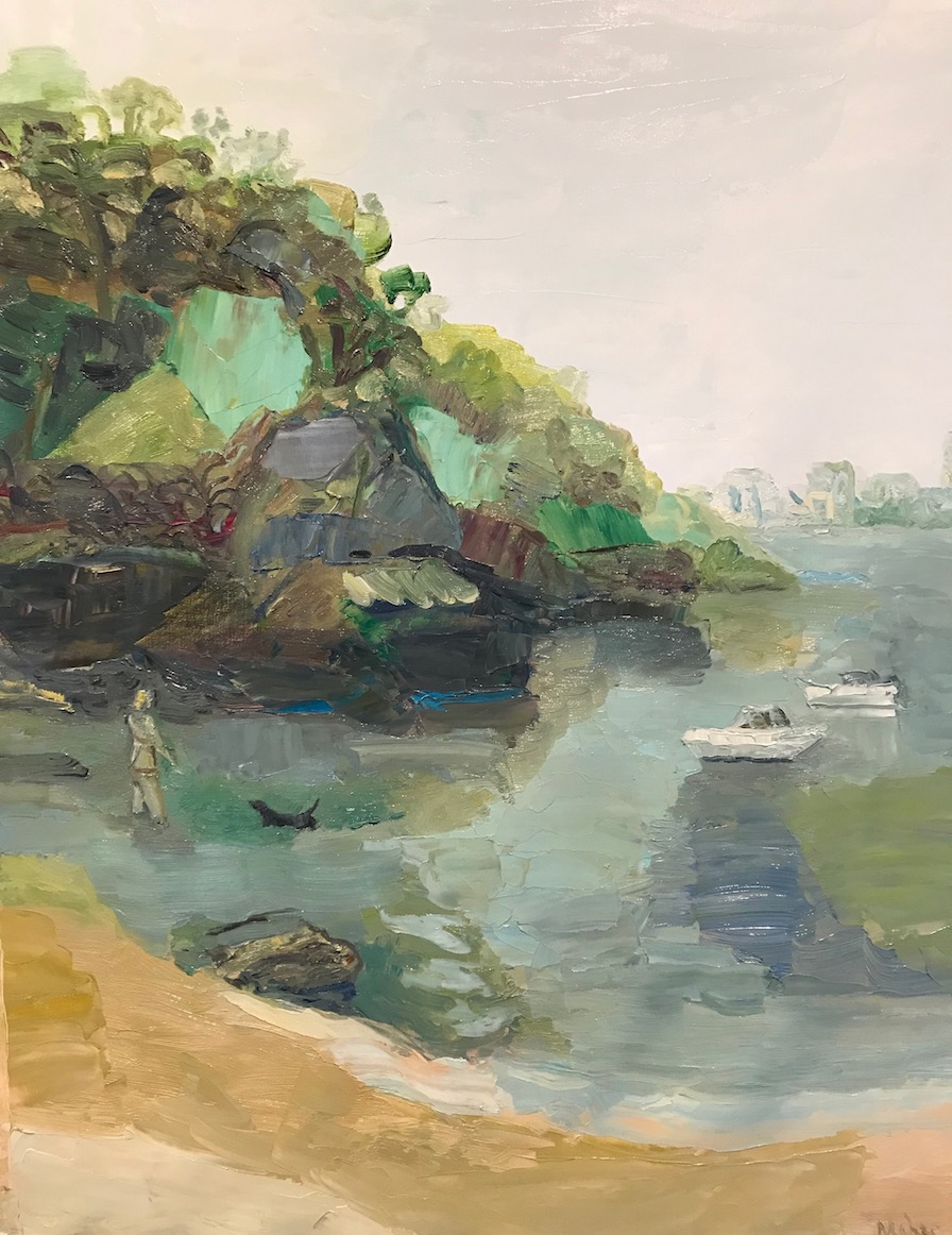 Paul Maher  Sirius Cove – blue lagoon  2019 oil on canvas 87 x 68cm framed SOLD