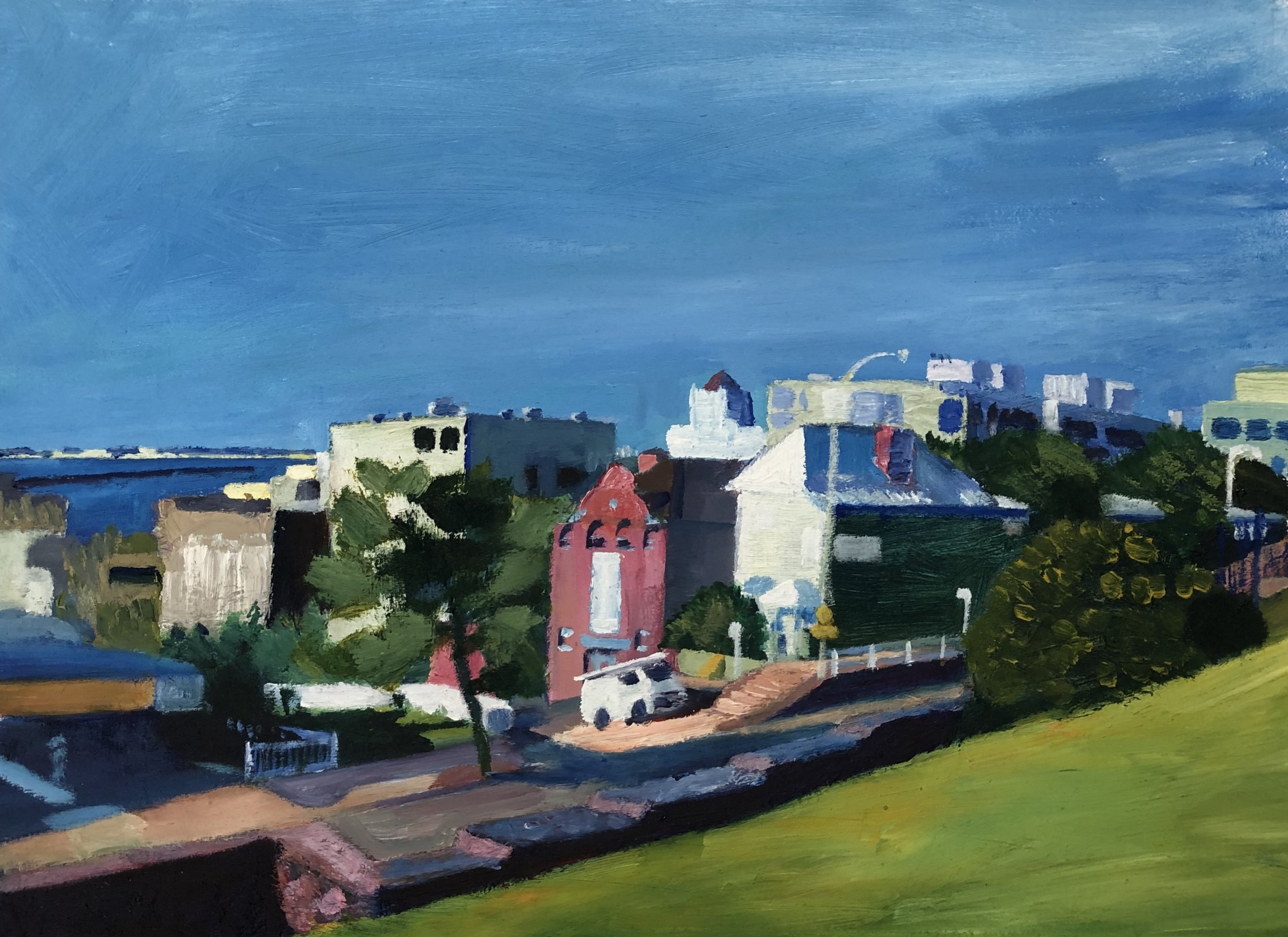 Patrick Mavety  Top of King St  2019 oil on cotton paper 43 x 53cm mounted:framed $490.00