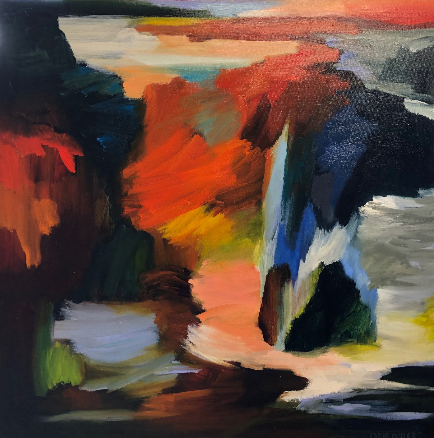 Lydia Miller Abstracted landscape 2016 76 x76cm SOLD