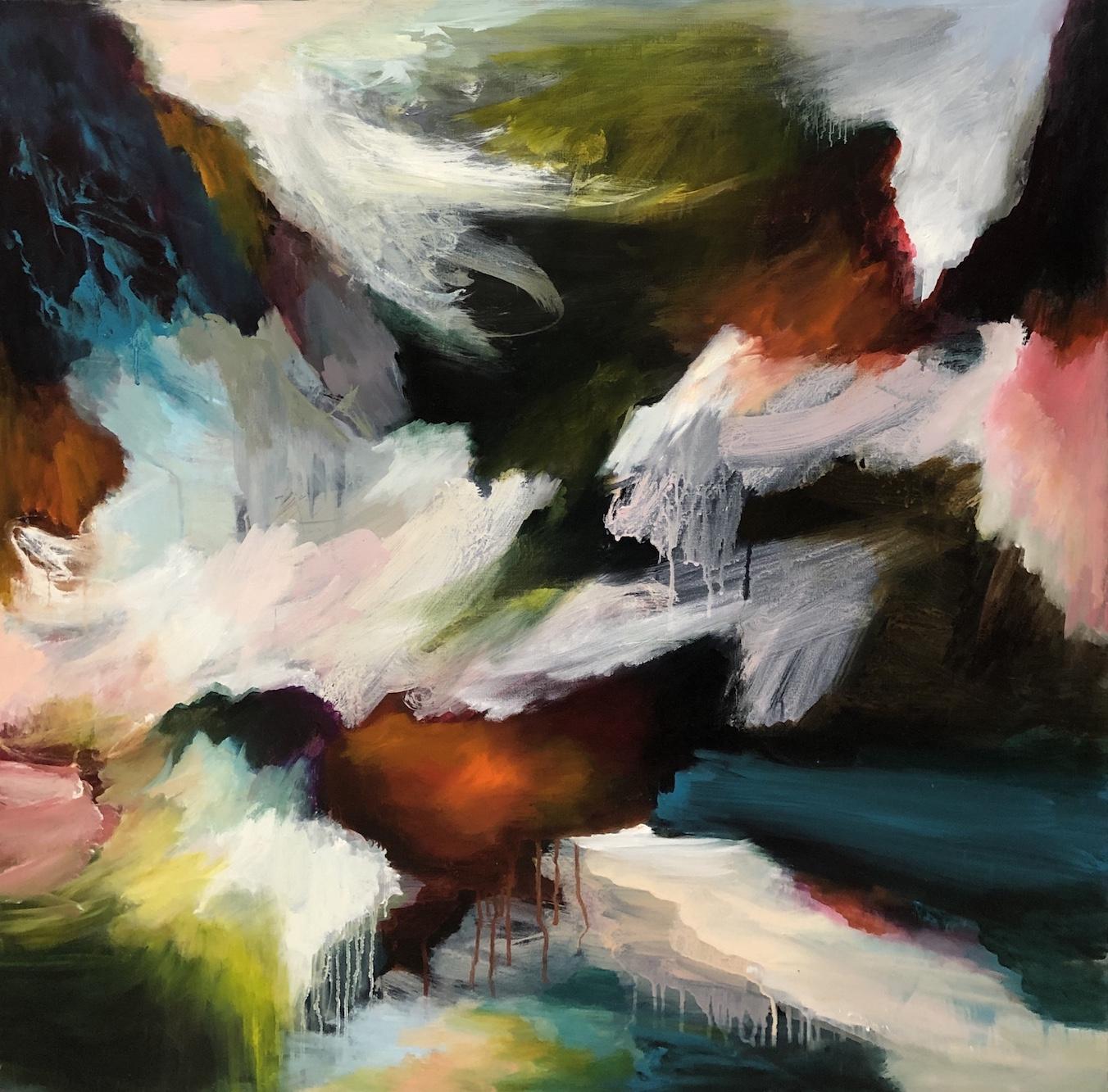 Lydia Miller Coastal Lands 2018 oil on canvas 91x91cm $2200.00