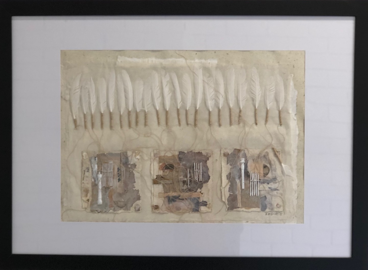 Margaret McBride Flying without wings 2019 collage and mixed media on mulberry paper 60 x 85cm frame size $300.00