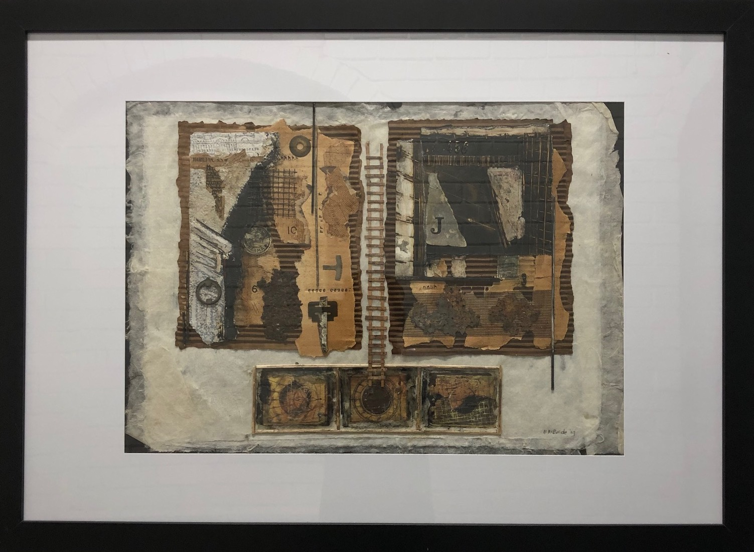Margaret McBride Journeys without wings 2019 collage and mixed media on mulberry paper 60 x 85cm frame size $300.00