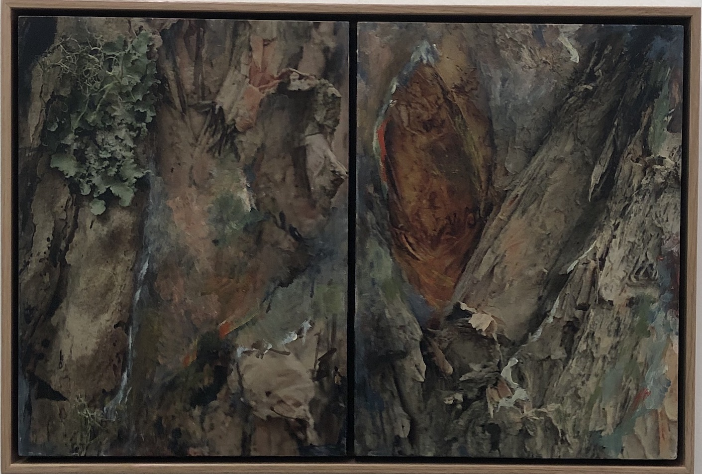 Helene Leane Forest (moss) 2019 mixed media 33 x50cm frame $400.00