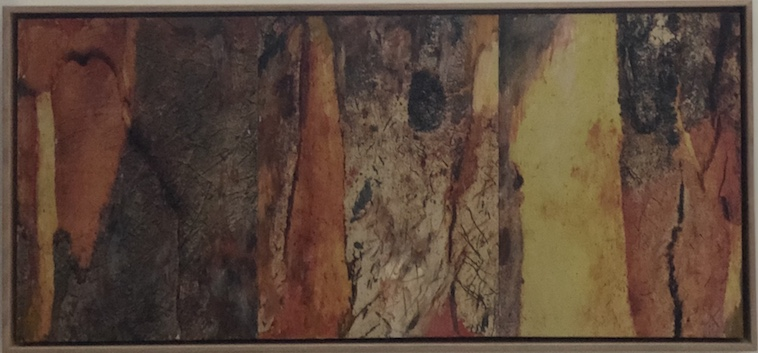 Helene Leane Inside spaces (bark) 2019 mixed media on board 33 x 71cm frame $520.00