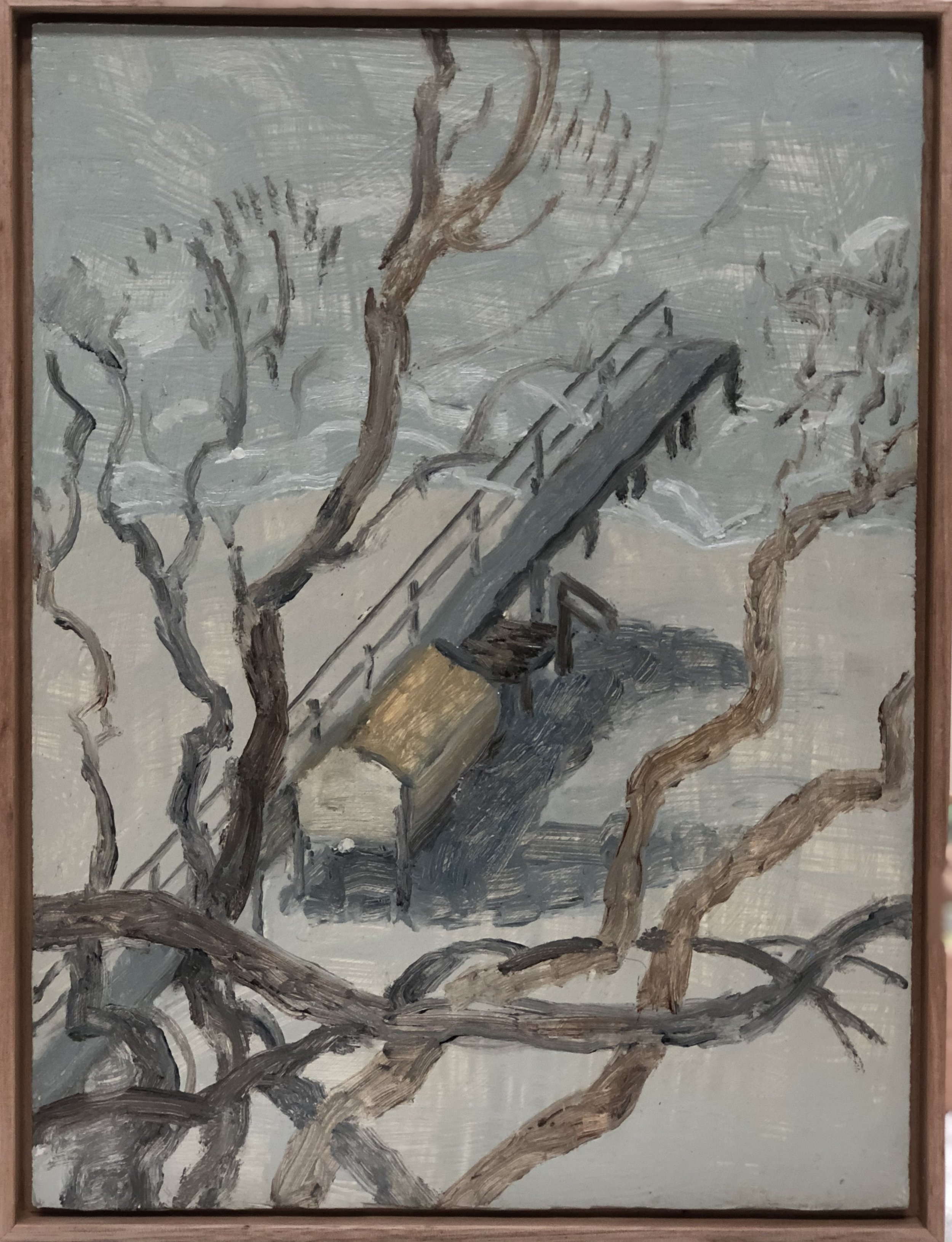 13. Paul Maher Boasted through trees 2017 oil on canvas 31 x 24.5cm framed $350.00