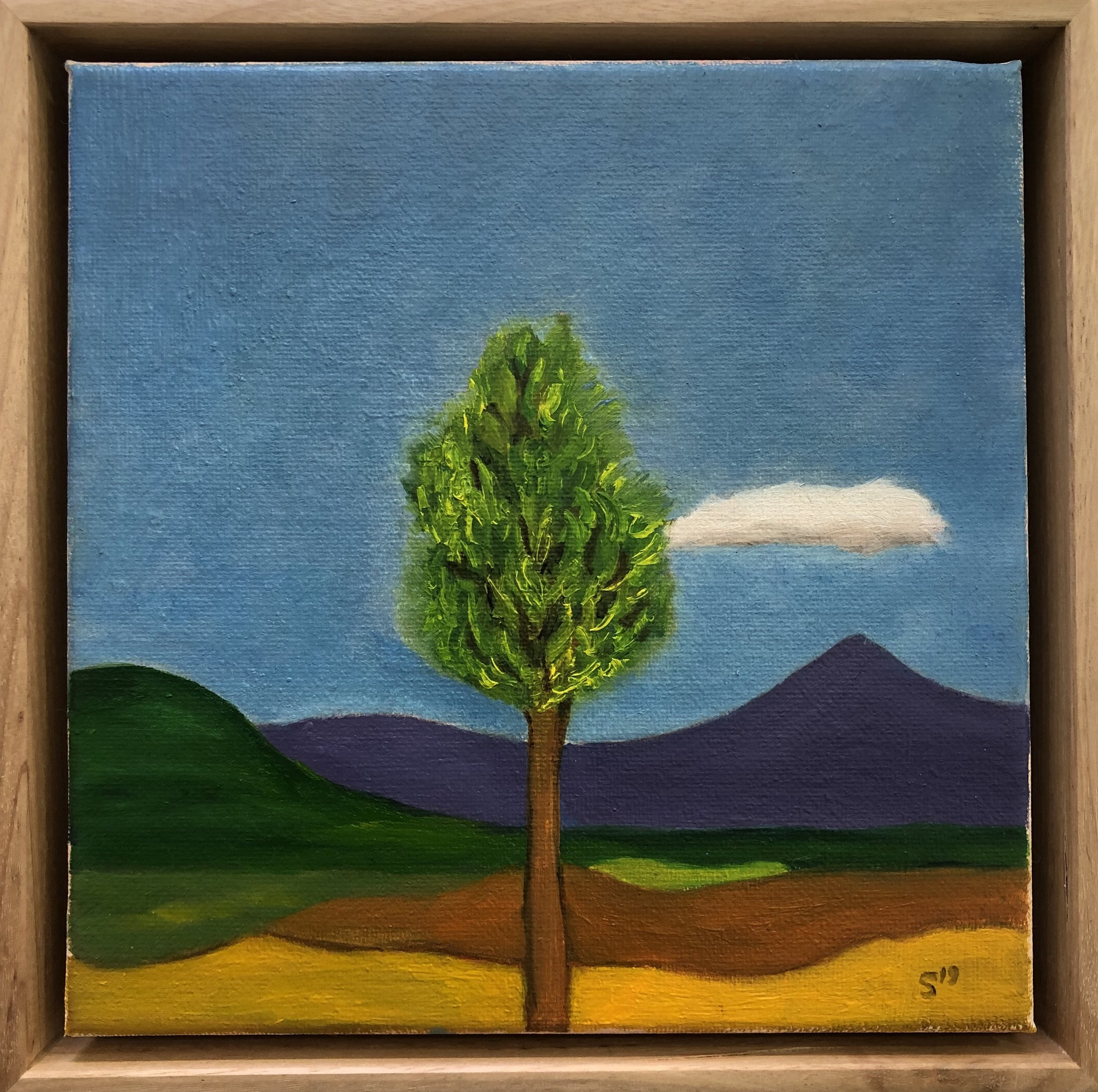 6. Malcolm Sands Bylong Valley View 2019 oil on canvas 23 x 23cm framed $250.00