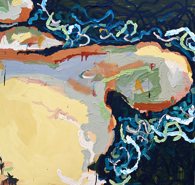 Michelle Teear  Munmorah Rock Shelf  2019 oil on plywood 120 x 120cm framed $2200.00