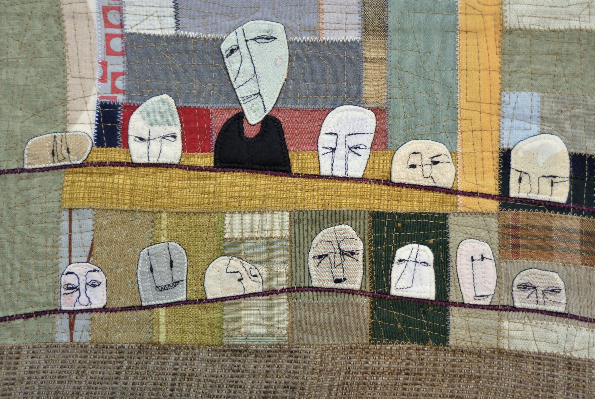 Olivia Parsonage  The Head of the Committee is in the top row, third from the left. Or, if you prefer, fourth from the right  2019 fabric illustration on paper 22.2 cm x 32.7cm (image) 29.7cm x 39.7cm (paper)  $620.00 framed AVAILABLE