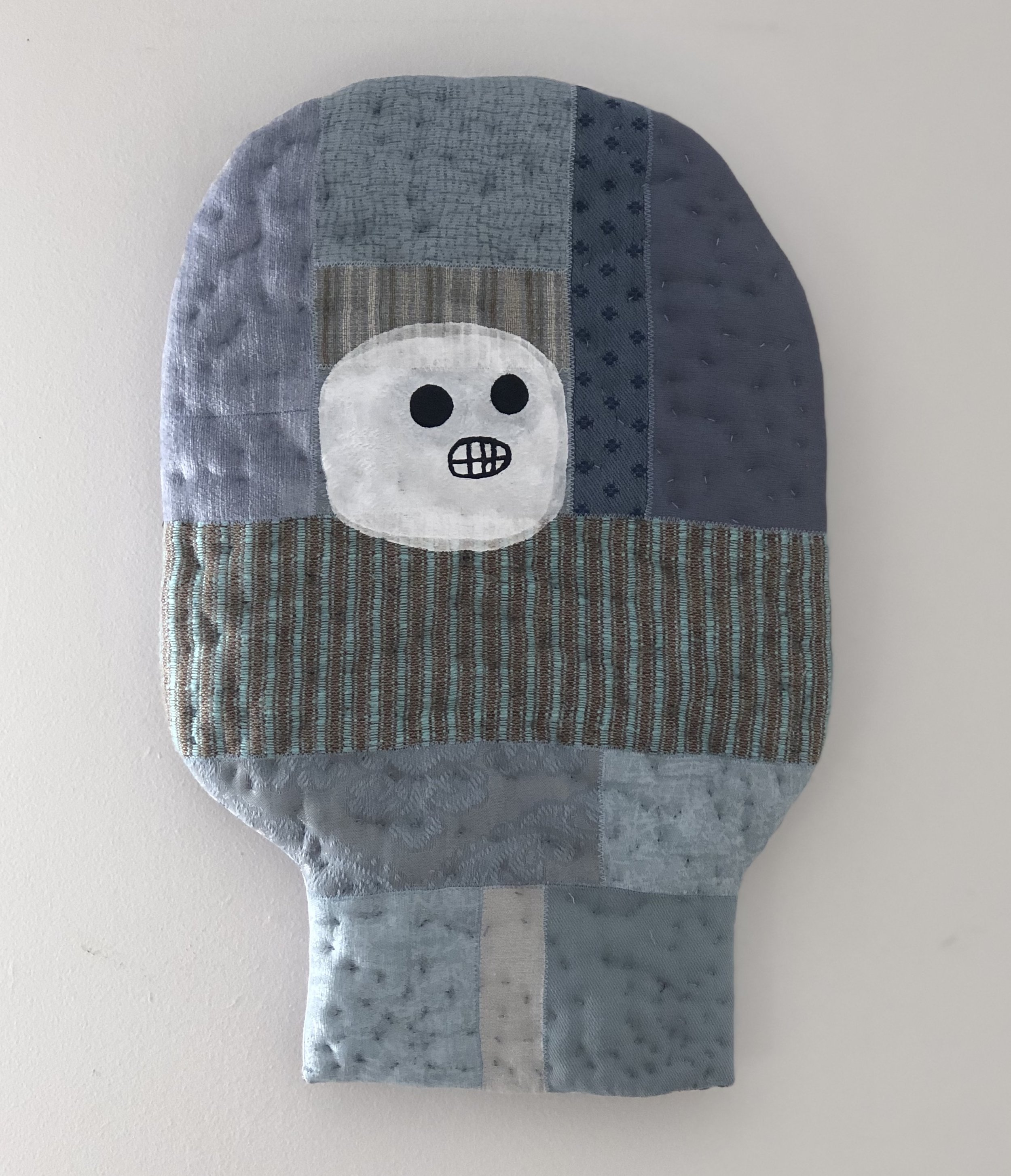 Olivia Parsonage Head (blue) soft wall sculpture $190.00