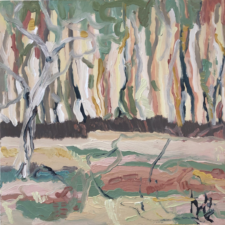 Michelle Teear  Monsoon Swamp 2019  (En plein study at Sandy billabong, Kakadu, NT) oil on plywood, egg emulsion 400 x 400mm $350.00 unframed