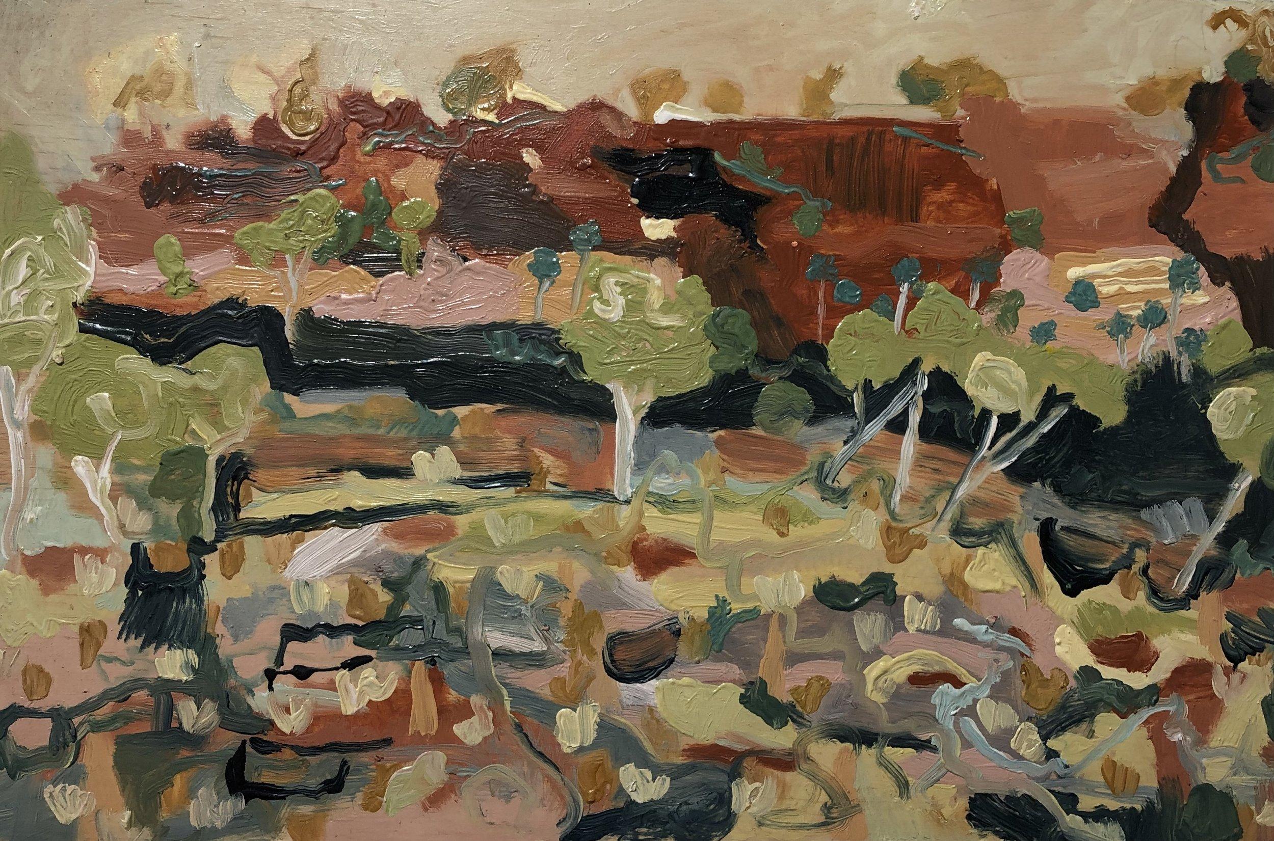 Michelle Teear Jasper Heights 2019  (En plein study in Jasper Gorge, Gregory NP, NT) Oil on plywood, egg emulsion  400 x 600mm $450.00 unframed  $580.00 framed