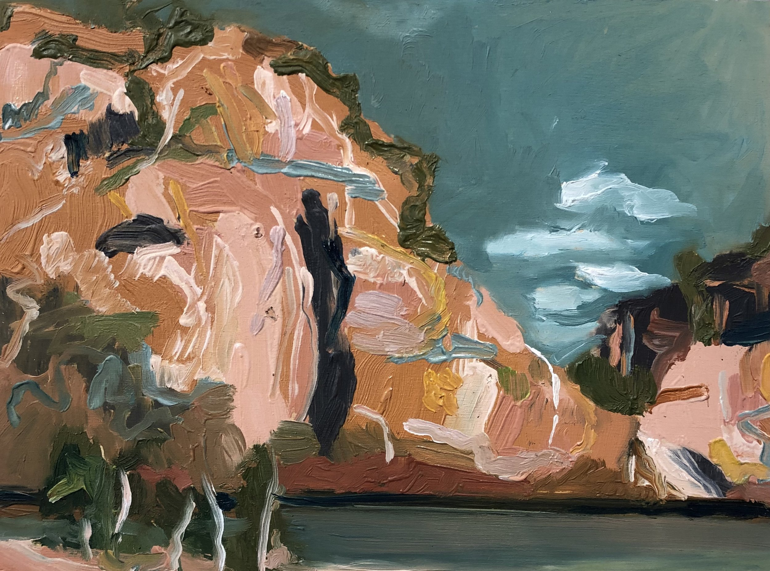 Michelle Teear The Rock at Edith 2019  (En plein study at Edith Falls, Nitmiluk, NT) Oil on plywood, egg emulsion  300 x 400mm $300.00 unframed  $400.00 framed