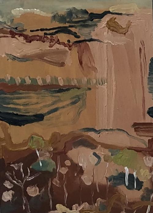 Michelle Teear Red Cliff 2019  (En plein study in Jasper Gorge, Gregory NP, NT) Oil on plywood, egg emulsion  400 x 300mm  $300.00 unframed $400.00 framed