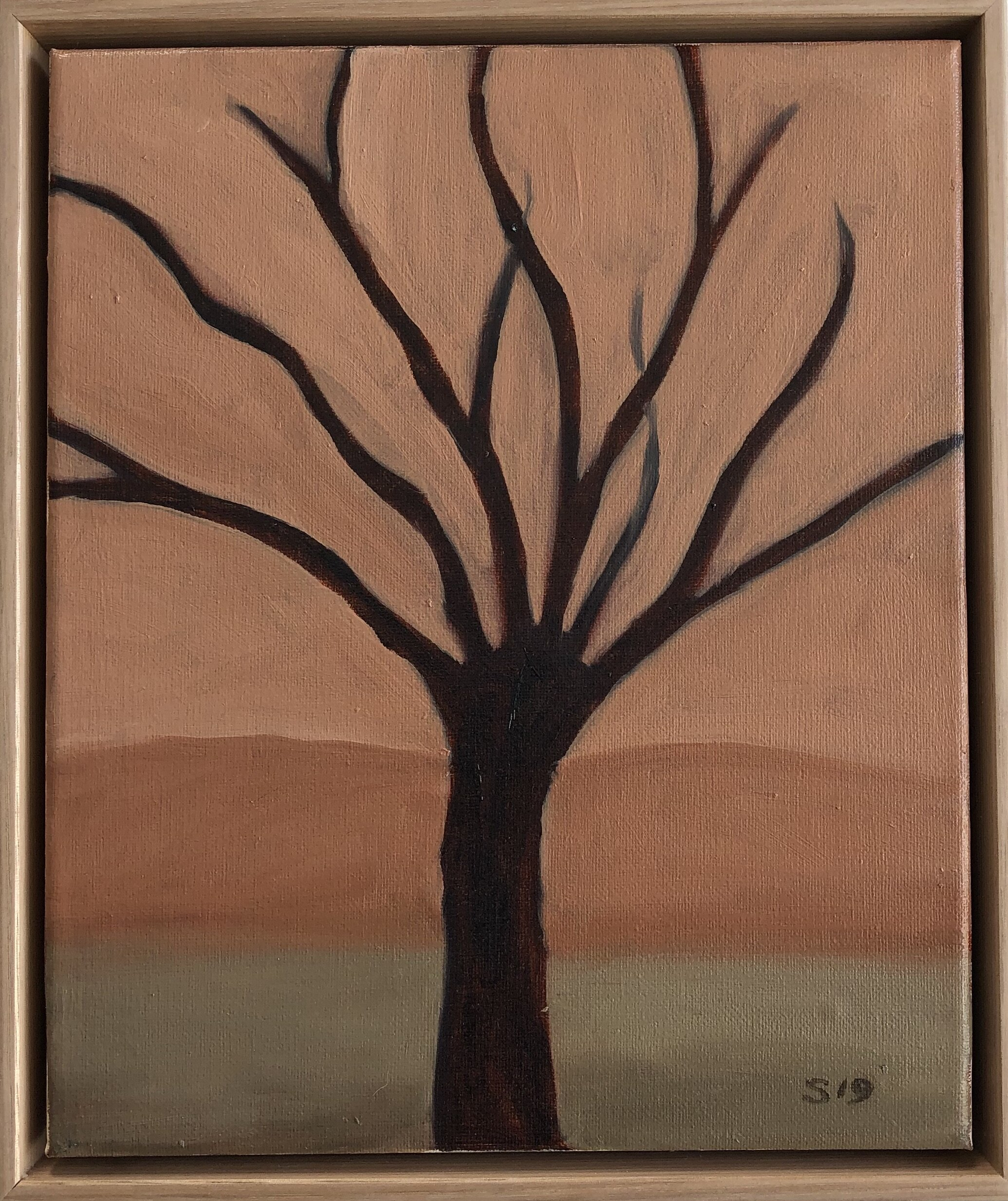 8. Malcolm Sands Tree 2019 oil on canvas 32.5x27.5cm framed $300.00