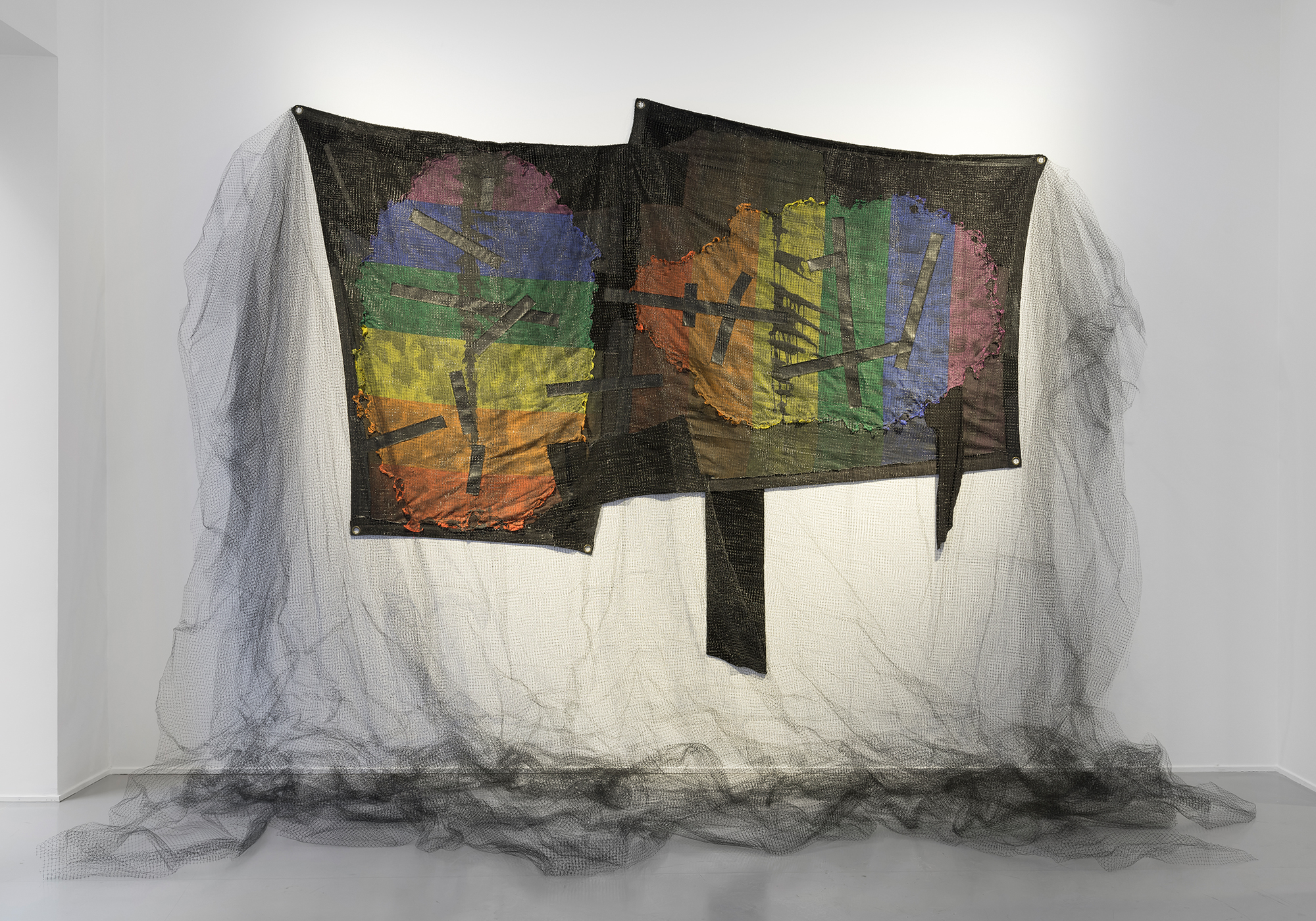 Leif Homstrand, Party Condolences  (2017), burned rainbow flags,textile materials, sewn duct tape, indian ink,four layers of black net et cetera.Foto:Øystein Thorvaldsen
