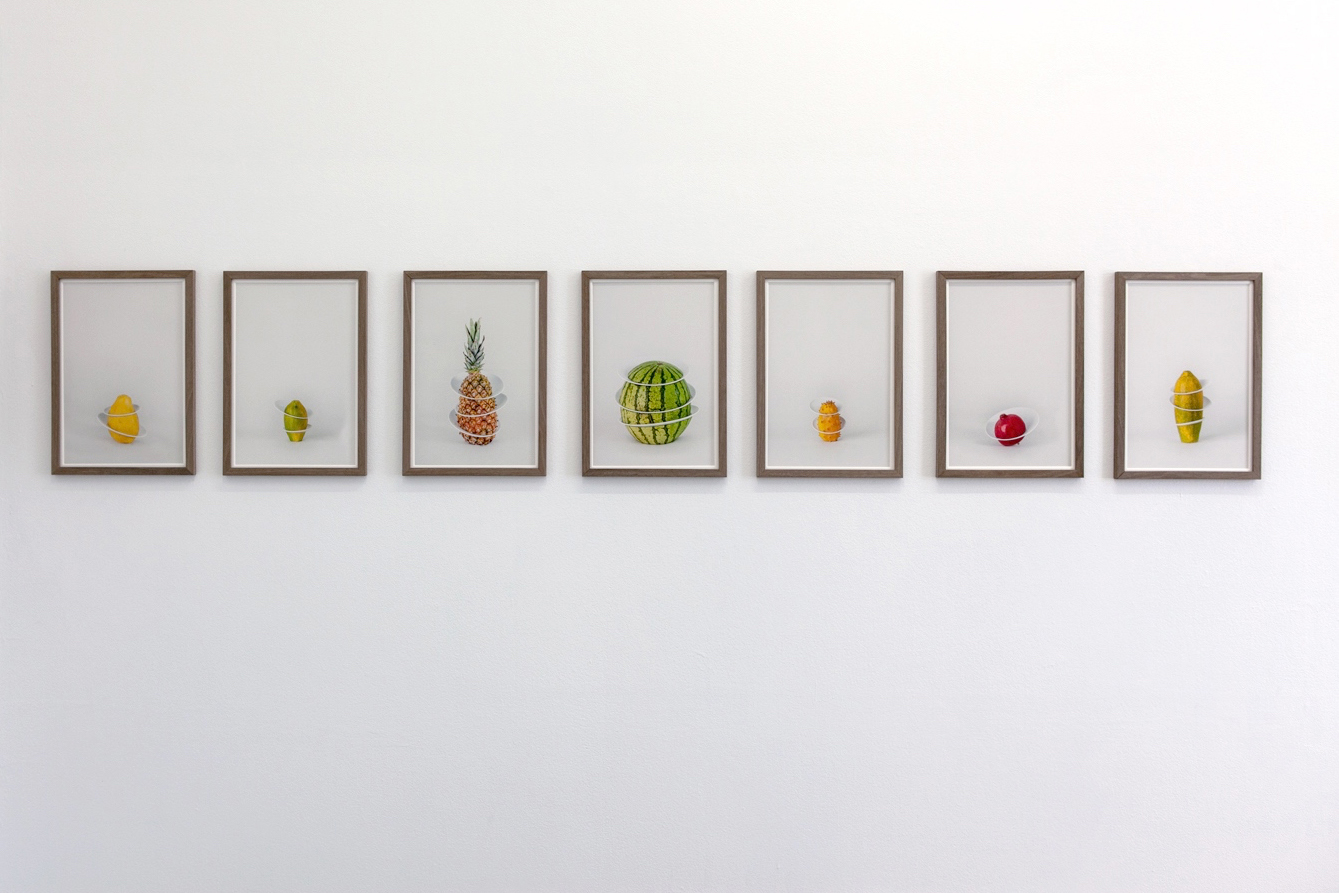 Fruit Plates – Thoughts on stacking , 2017. 21 cm x 36 cm, (8 digital printed photographs). Foto: Audun Alvestad