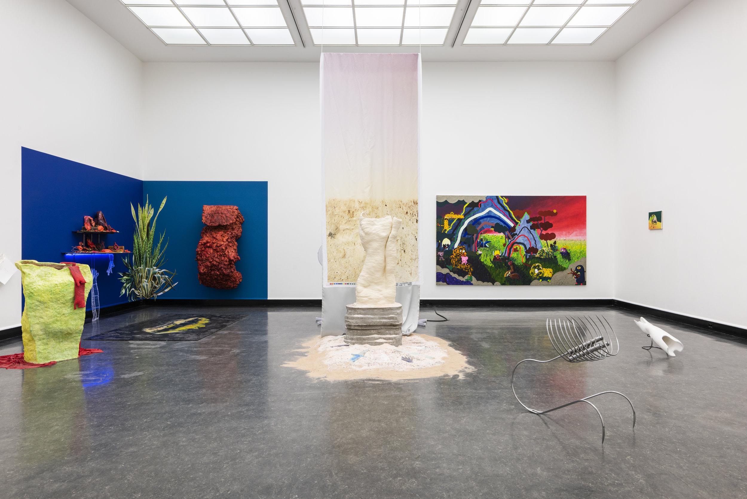 Installasjonsbilde av utstillingen  with eyes closed, call me  i Bergen Kunsthall. Foto: Jane Sverdrupsen