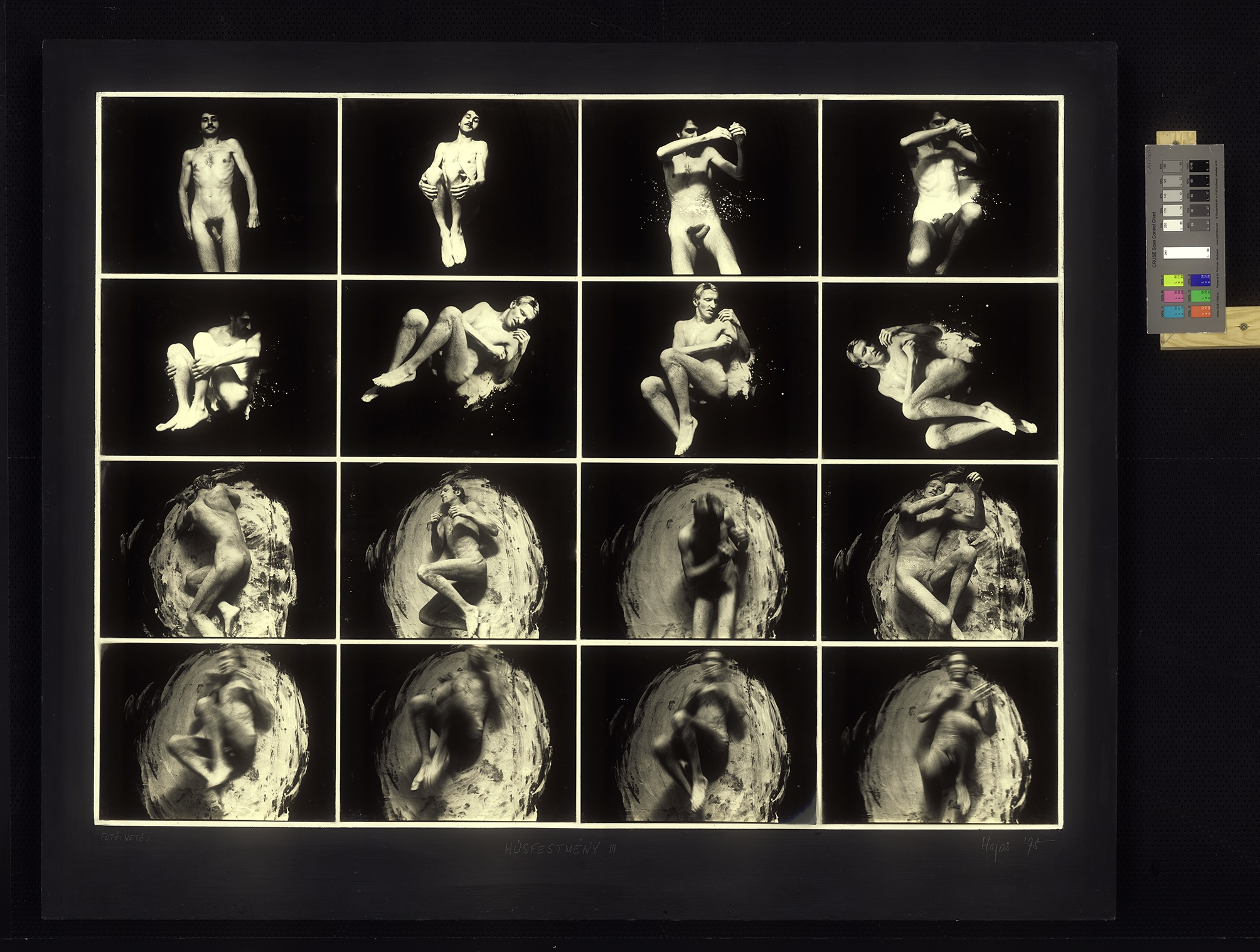 Tibor Hajas, Húsfestménu III (Flesh Painting No. 3), 1978. Sølvgelatin-print og dispersjonsmaling på tre. Lån fra Ludwig Museum – Museum of Contemporary Art, Budapest. Tibor Hajas, Dániel Jázon Frankl og BONO 2019. Foto: János Vetö