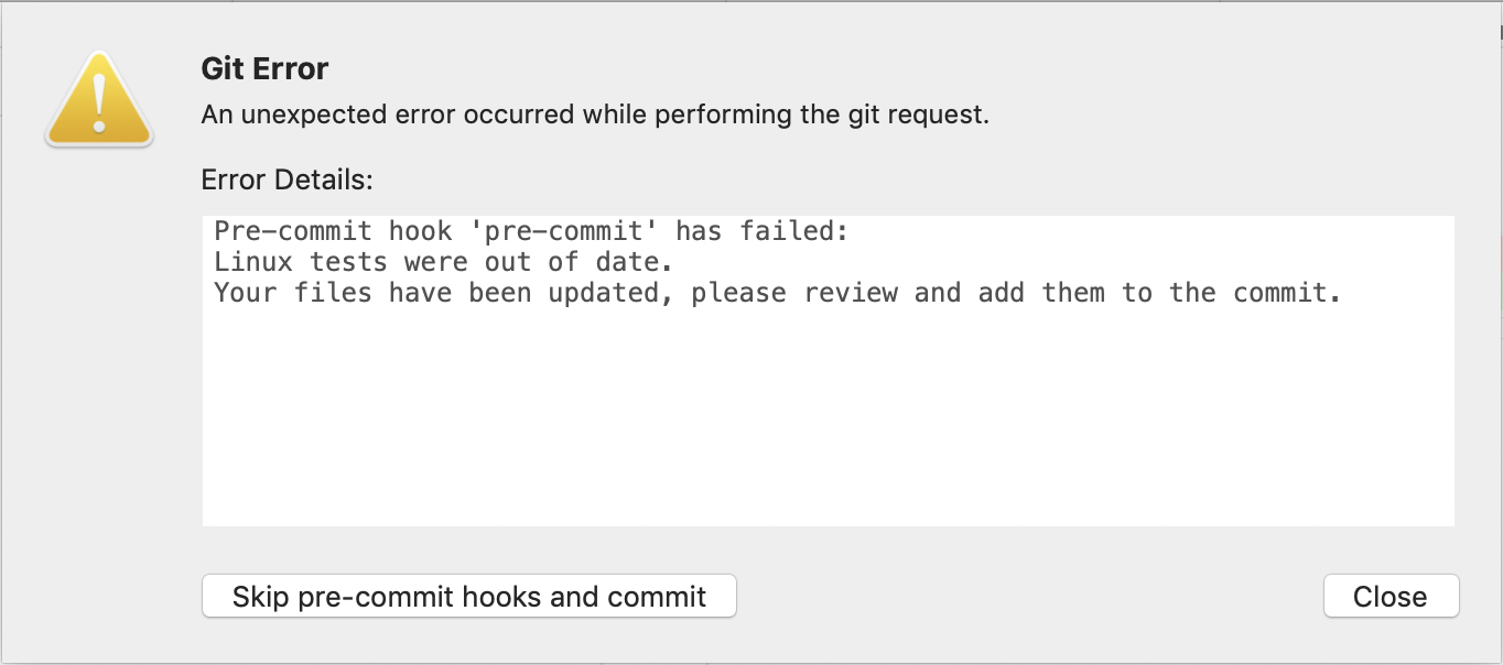 Rejected commit when linux tests are out of date