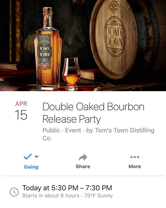 Double Oaked Bourbon Release Party Tonight from 5:30-7:30pm! Tickets available through #tomstown