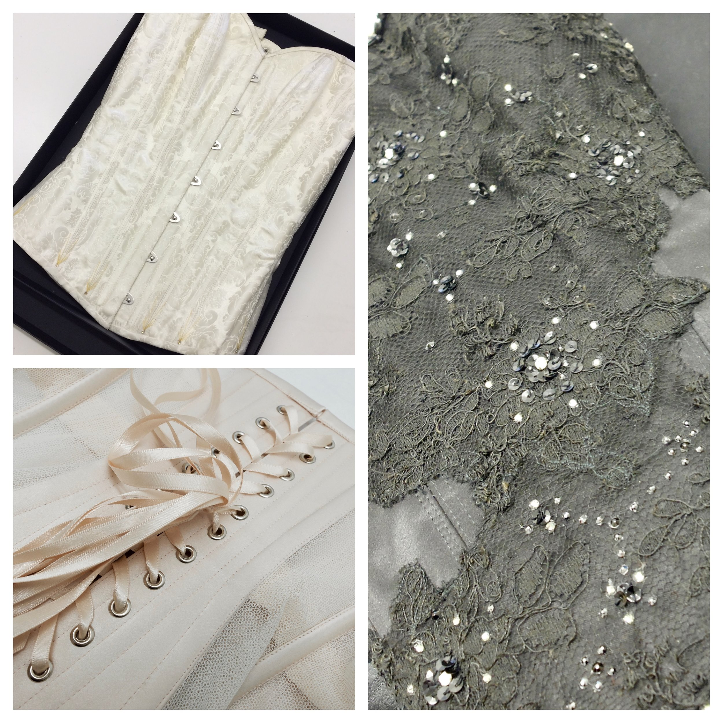 A set of three bespoke corsets - top left is pattern matched jaquard silk, right is a custom overbust with vintage lace and beads embellishments, bottom left is a bobbinet underbust designed for use under vintage couture clothing.