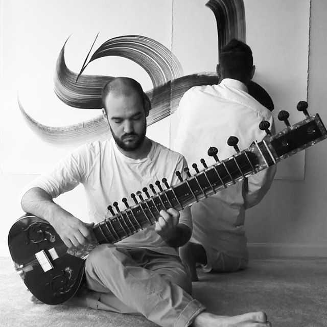 "PERFORMANCE COLLABORATION WITH MR. CRAIG PHILLIPS @craig5446 CALLIGRAPHY MOVEMENT WITH SITAR /// THE MELODY CALLED ""EARTH"" //2015"