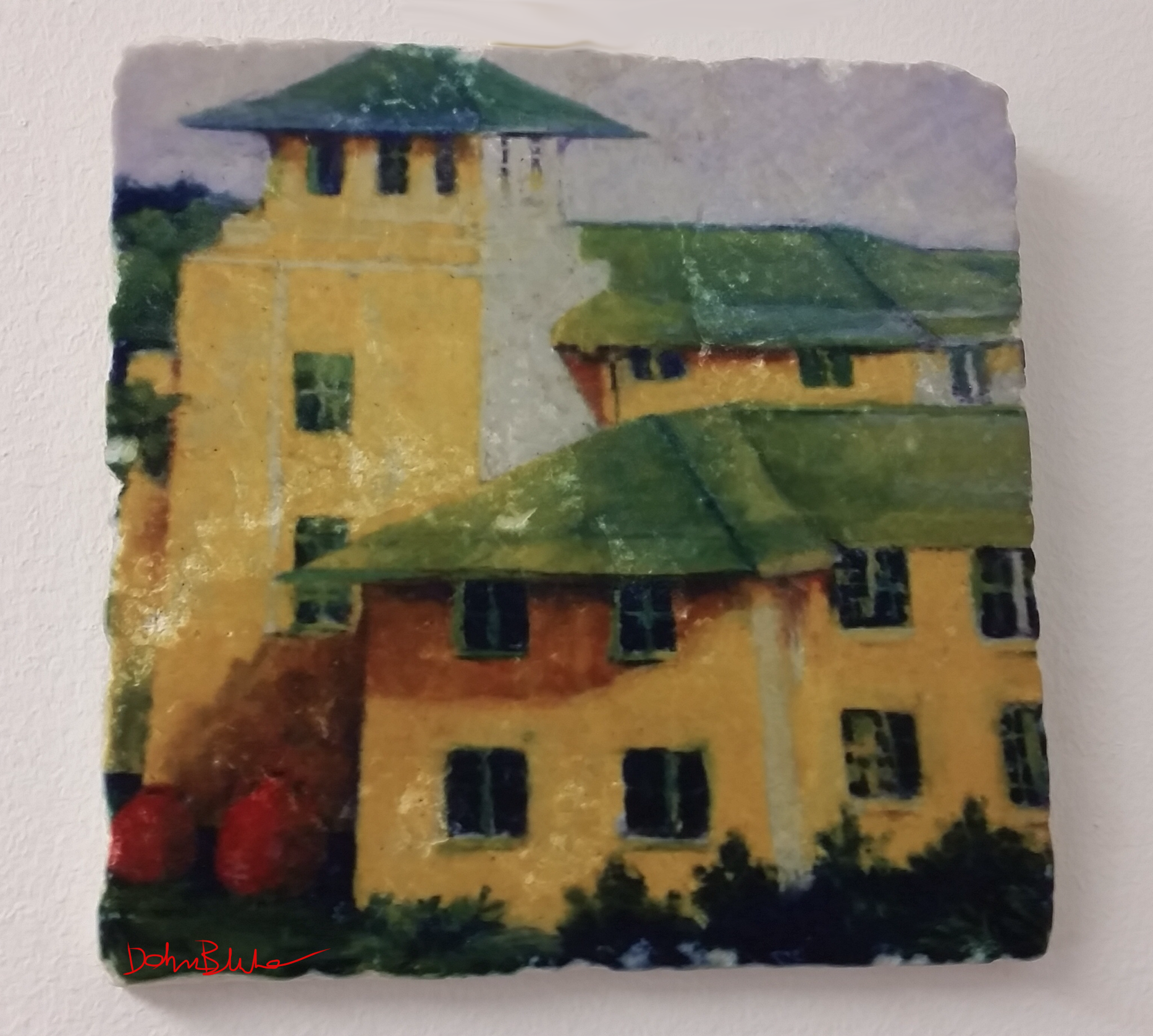 """Yellow House"": pastel original printed on tumbled marble"