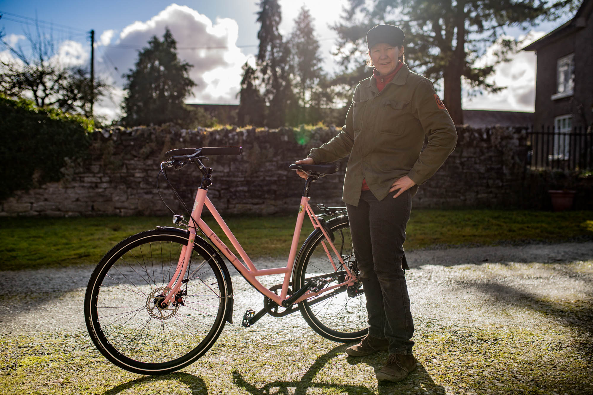 Easy to get on and off, the 'Tito d'Italia' as my Italian born customer has named his bike (in Giro d'Italia pink) features the  Jones  bar for varied hand positions, 8 nice 'n' low gears, a luggage rack and front hub dynamo lighting system.