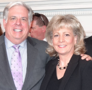 Governor Larry Hogan congratulating Joan at the class reception in March