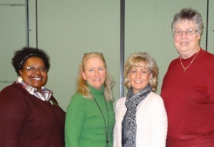 Pictured: HCC Director of Student Life, Schnell Garrett;HCC Mental Health Counselor, Kassy Hargadon-Zester;HC DrugFree Executive Director, Joan Webb Scornaienchi;and HCC Athletic Director, Diane Schumacher.