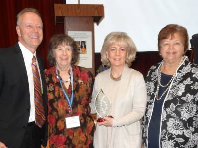 Pictured with past winners of the Jack Epstein Award from left to right: Later named Acting Superintendent of Howard County Public Schools (Previous State Superintendent of West Virginia Schools and Superintendent of St. Mary's County MD Public Schools)  Dr. Michael Martirano, retired from the MD State Dept of Education Linda Shevitz, Joan, and retired from Harford County Public School System Cathy Price