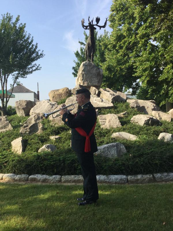 WO Jim Prowse plays the Last Post at Masnieres