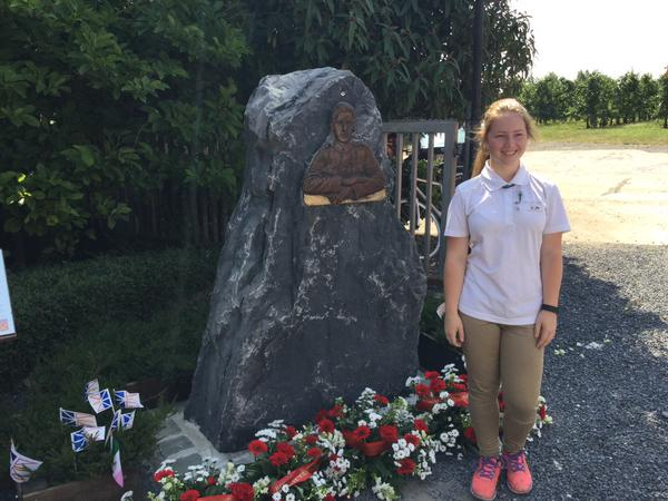 Ambassador Award student Jenna Lee Ralph at the Tommy Rickets memorial