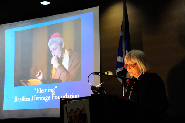 """Ms. Sharon Outerbridge remarks on a winning project in the Community Category, the theatrical performance """"Fleming"""" by the Basilica Heritage Foundation."""