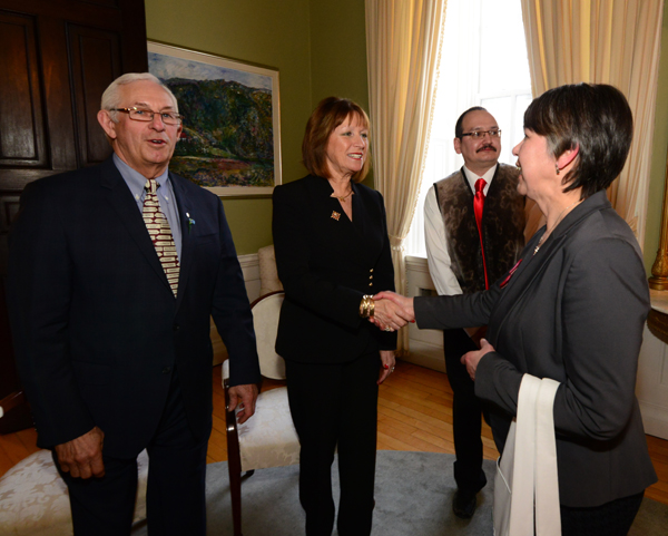 President Sarah Leo of the Nunatsiavut Government, meets Her Honour, Mrs. Fagan, at the post-award reception at Government House.