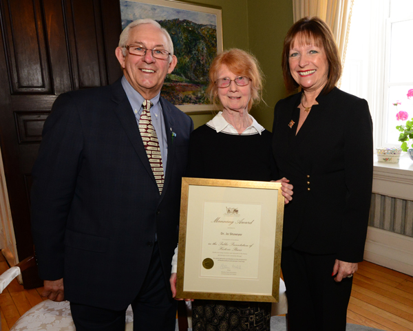 Dr. Jo Shawyer, the Outstanding Heritage Supporter for 2016, is pictured with Their Honours at the Government House reception.