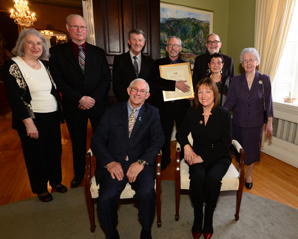 Representatives of the Pouch Cove Heritage Society are pictured at the Government House reception with Their Honours, The Honourable Frank F. Fagan and Mrs. Patricia Fagan.